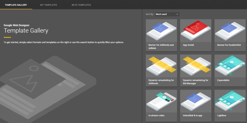 Google Web Designer template gallery
