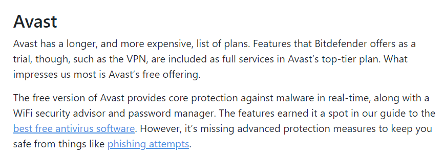 Features avast