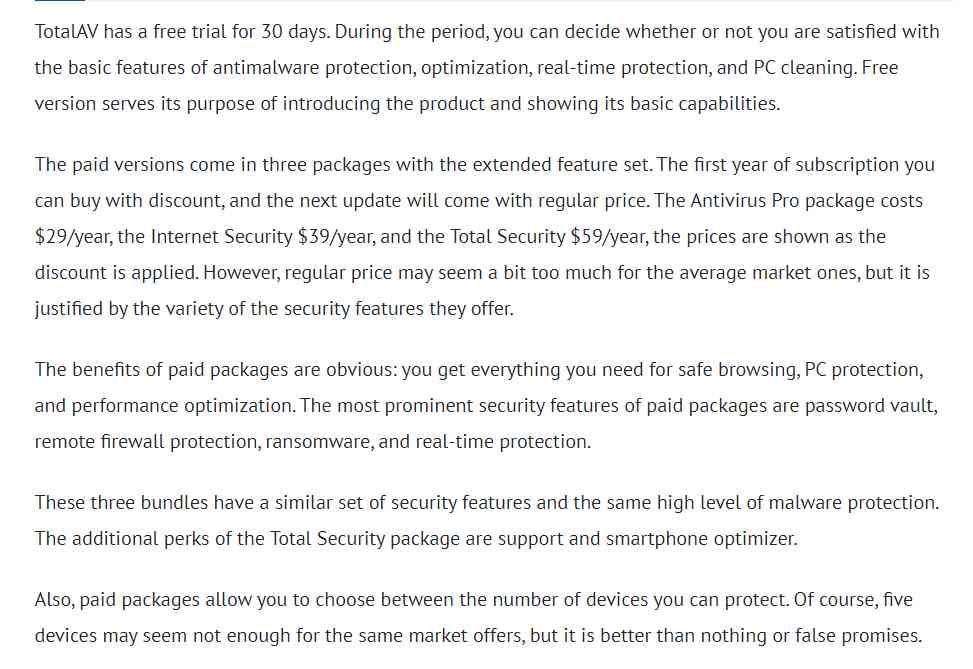 Free vs Paid version of Total AV
