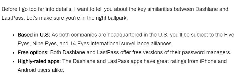 Key Similarities of Dashlane Vs. LastPass