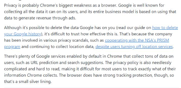 Privacy google chrome