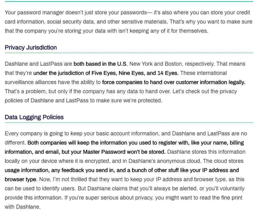 Privacy with Dashlane Vs. LastPass